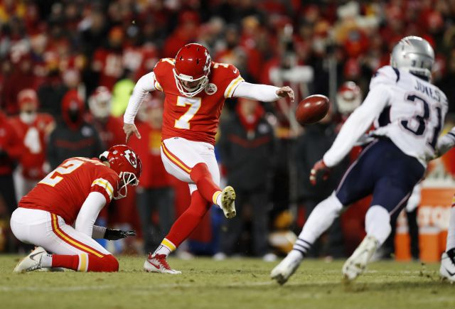 Kansas City Chiefs kicker Harrison Butker (7) kicks a field goal during the second half of the AFC Championship NFL football game against the New England Patriots, Sunday, Jan. 20, 2019, in Kansas City, Mo. (AP Photo/Jeff Roberson)