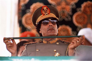 FILE - In this Sept. 1, 1987 file photo, Col. Moammar Gadhafi  Libya