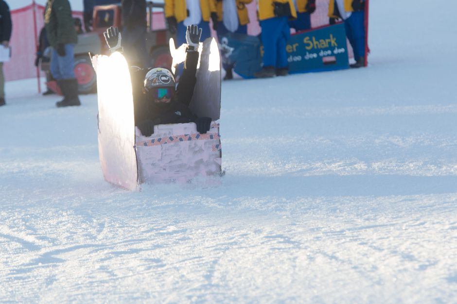 Team Pink Whale (Nolan Jermine, Adrianna Lucibello, Connor Jermine and Lilly Jermine) making a run down Mount Southington. They participated in the annual Cardboard Box Race on Saturday.| Ron Paris, Special to the Record-Journal