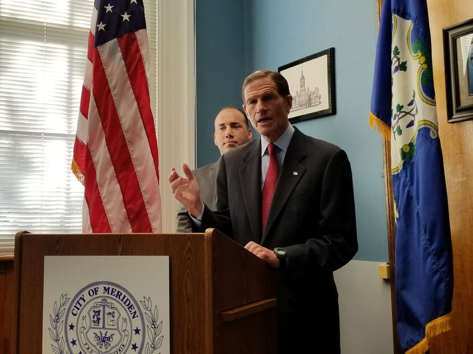 U.S. Sen. Richard Blumenthal, D-Conn., voices opposition during a press conference Friday at Meriden City Hall to a tax reform proposal from Republicans. Blumenthal said the plan would cover the cost of tax breaks for the wealthy by removing deductions utilized by middle class homeowners.