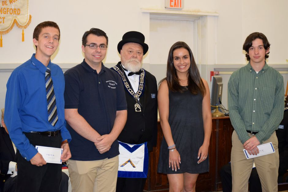 Stephen Fengler, Zachary Ferreira, Worshipful Master, Jeff Cooper, Ellie Quellette, and Brian Oliveria.