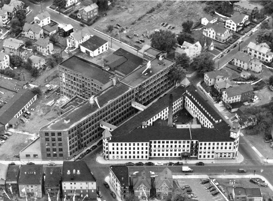 Aerial view of the Manning, Bowman & Co. complex at the corner of Pratt, Miller and Catlin streets in Meriden, 1940s. Record-Journal archives