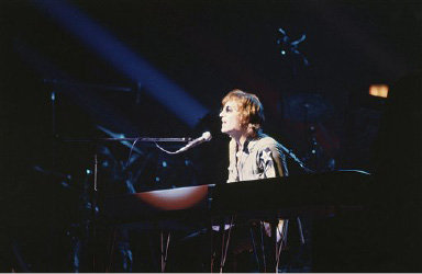 "John Lennon performs on the keyboard during ""One To One"", a charity concert to benefit mentally challenged children at Madison Square Garden, Aug. 30, 1972, New York. (AP Photo/Dave Pickoff)"