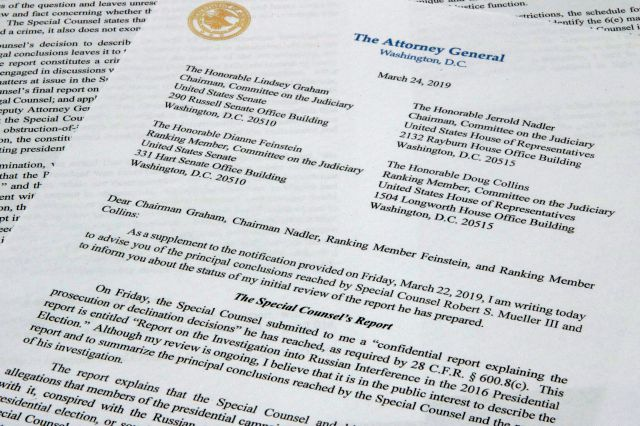 The letter from Attorney General William Barr to Congress on the conclusions reached by special counsel Robert Mueller in the Russia probe photographed on Sunday, March 24, 2019. (AP Photo/Jon Elswick)