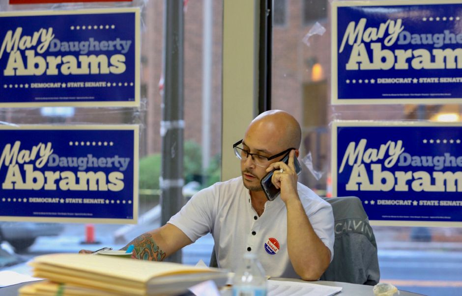 Volunteer Anibal Colon works the phones at the campaign headquarters for Mary Daughtery Abrams at 5 Colony St. in Meriden, Tuesday, August 14, 2018. Dave Zajac, Record-Journal