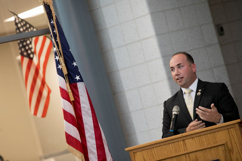 FILE PHOTO: Mayor Kevin Scarpati speaks during a ribbon cutting ceremony for the new Platt High School in Meriden, Thursday, October 19, 2017. | Dave Zajac, Record-Journal