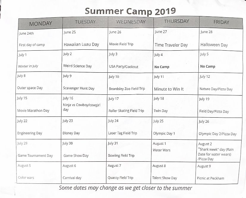 Event and theme schedule for the summer. Calendar provided by Middlefield Parks and Rec.