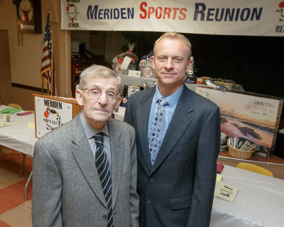 Jerry Melesko, left, and Rob Jachym were the Sportsmen of Distinction honored at Tuesday night's 37th annual Meriden Sports Reunion at the Meriden Elks Club. | Justin Weekes / Special to the Record-Journal