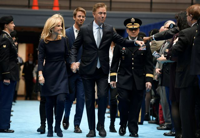 Connecticut Gov. Ned Lamont arrives with wife Annie, left, and his family for his inauguration at the William A. O