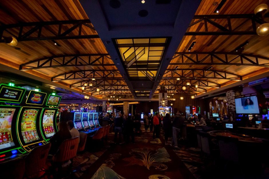 The gaming floor at MGM Springfield also features an open ceiling and industrial feel. | Richie Rathsack, Record-Journal