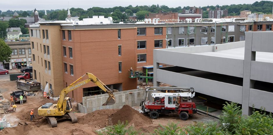 The mixed-use building and parking garage under construction at 24 Colony St. in Meriden, Tuesday, June 28, 2016. | Dave Zajac, Record-Journal