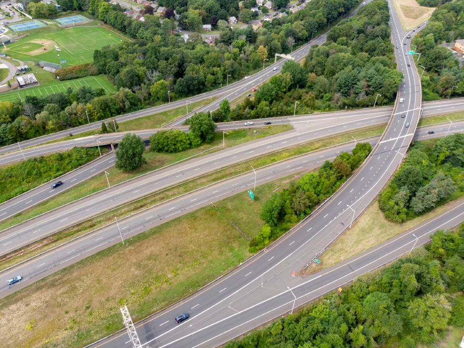 Traffic navigates the Interstate 91/691/Route 15 interchange in Meriden Sept. 5, 2019. | Richie Rathsack, Record-Journal