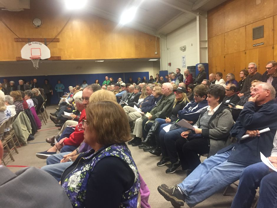 Two hundred Durham residents at a special town meeting at the former Korn Elementary School on Monday, Oct. 29. A vote passed for the acquisition and renovations of Korn School into a community center to go to referendum on Dec. 4 | Bailey Wright, Record-Journal
