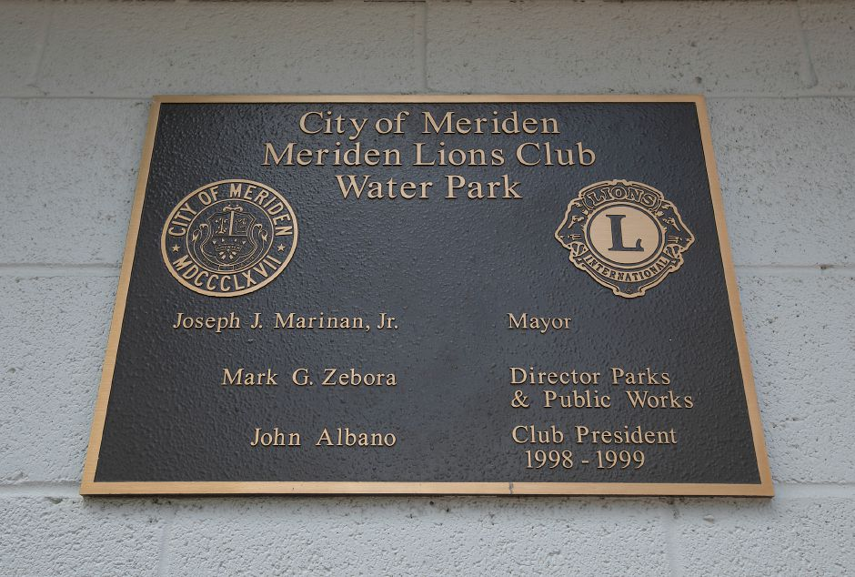 A plaque at the City of Meriden Lions Club Water Park in Meriden, Wednesday, June 20, 2018. The water park opened for the summer last Friday. Dave Zajac, Record-Journal
