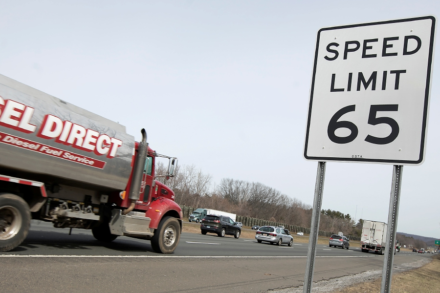 Motorists travel east on Interstate 84 in Southington on Tuesday. The state has raised the speed limit from 55 to 65 mph along a stretch of Interstate 84 in Cheshire and Southington. Dave Zajac, Record-Journal