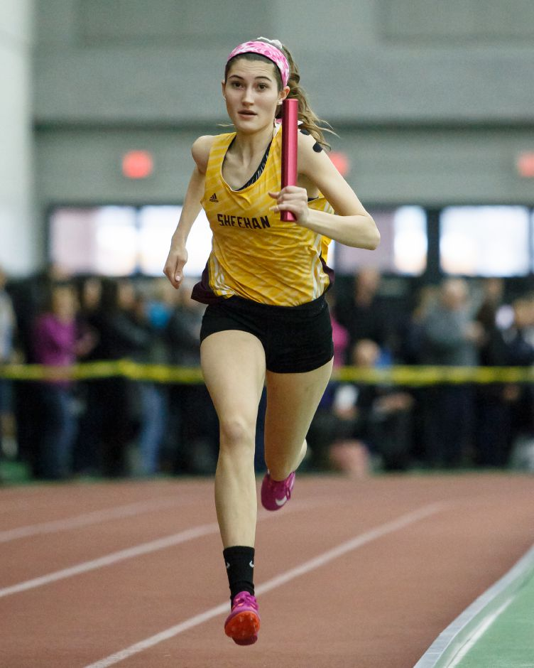 Sheehan senior Julia Mansfield is seeded among leading contenders for Tuesday's SCC East Sectional in the 300 meters as well as with in the 4x200 and 4x400 relays. | Justin Weekes / Special to the Record-Journal