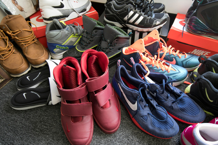 Sneakers available at Silver City Consignment, a new business at 841 W. Main St. in Meriden, Thursday, March 23, 2017. | Dave Zajac, Record-Journal