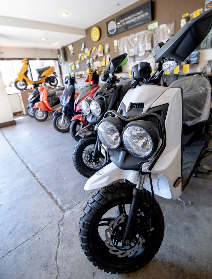 Stephen Hill, owner of The Moped Warehouse, will be closing his Plainville business to retire after more than 40 years in operation. | Devin Leith-Yessian/Plainville-Citizen