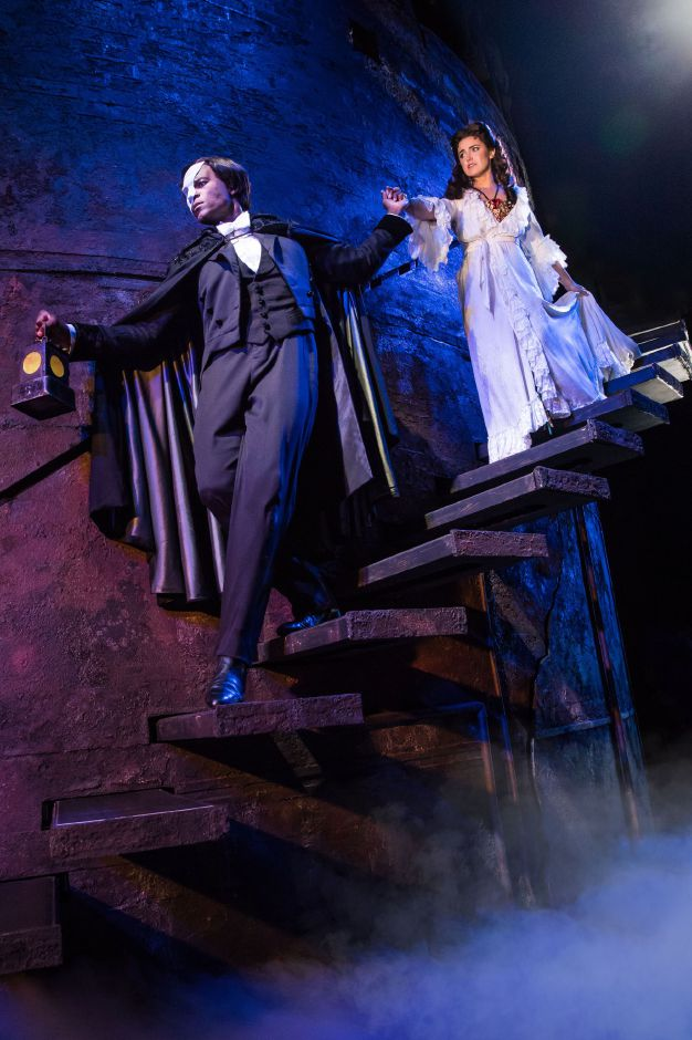 "Derrick Davis as 'The Phantom' and Eva Tavares as 'Christine Daaé' perform ""The Journey"" in ""The Phantom of the Opera."" Photo: Matthew Murphy"