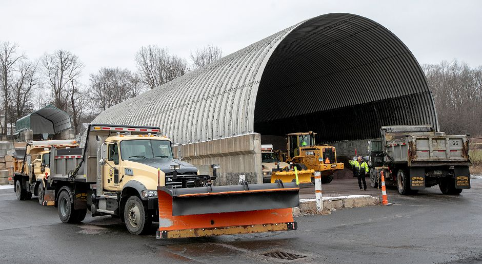 Snowplows wait to be filled with salt as Wallingford Public Works crews prepare for the incoming storm, Fri., Jan. 18, 2019. State and local officials advise area residents to prepare for a mixture of snow and sleet predicted to fall throughout the weekend. Dave Zajac, Record-Journal