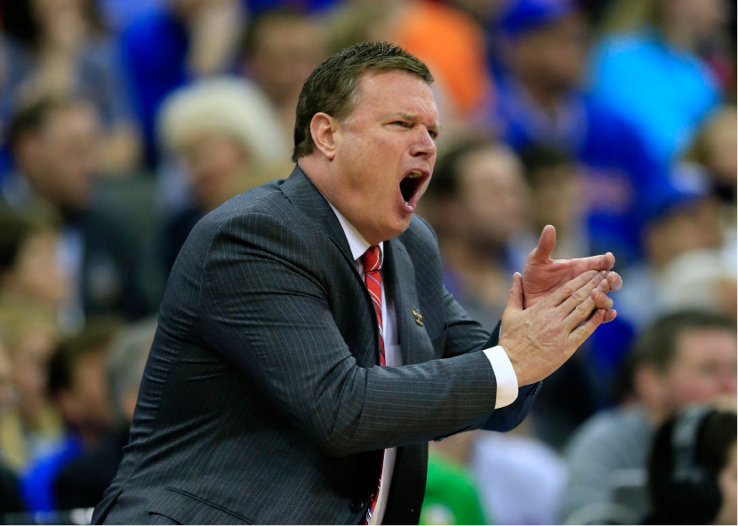 Kansas coach Bill Self reacts to a call during the first half of the team