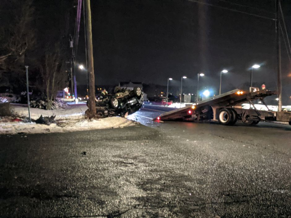 Police closed off Highland Avenue near Blacks Road and Richard Chevrolet after a motor vehicle struck an electrical pole. The vehicle rolled onto its roof, while the pole was severed in half, suspended by power lines.