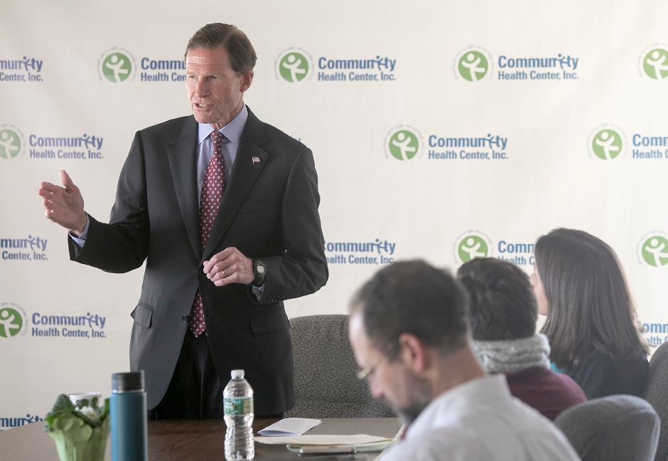 U.S. Senator Richard Blumenthal (D-Conn.) visits the Community Health Center in Meriden, Friday, Jan. 5, 2018. Blumenthal is urging Congressional action to protect healthcare for 17,000 Connecticut children and 9 million nationwide. Dave Zajac, Record-Journal