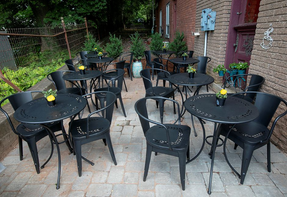 An outdoor patio for patrons of the new Southington Coffee House, 51 N. Main St. in Southington, Thurs., Aug. 15, 2019. The patio is located on the north side of the building. Dave Zajac, Record-Journal