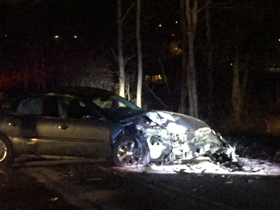 The driver fled after crashing into a pole on Finch Avenue in Cheshire Friday night.