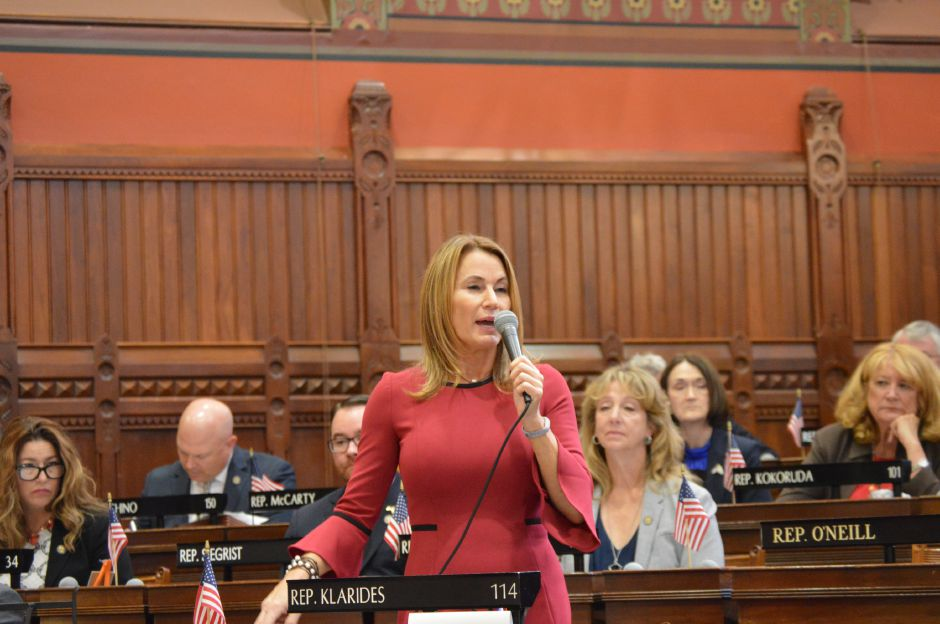House Minority Leader Themis Klarides, R-Derby, expresses support Thursday for a bipartisan budget agreement during debate Thursday at the Capitol. The House adopted the bill with a 126-23 vote just hours after the Senate approved it by a 33-3 margin.