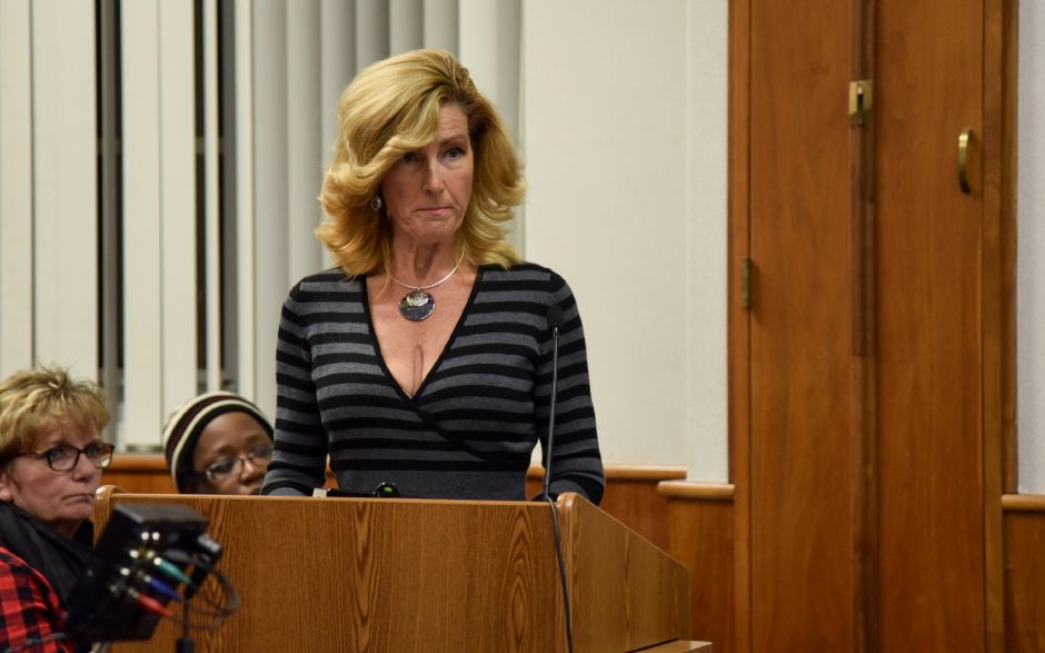 Beth Bryan speaks against the council resolution to terminate city manager Guy Scaife, at a city council meeting on Monday, Dec. 18. The council passed the termination and Fire Chief Ken Morgan was named interim city manager.