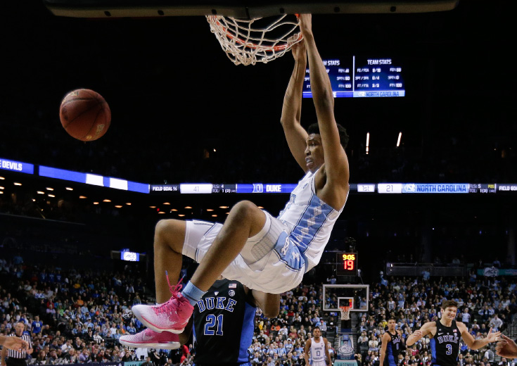 North Carolina forward Tony Bradley (5) dunks the ball against Duke in the first half of an NCAA college basketball game during the semifinals of the Atlantic Coast Conference tournament, Friday, March 10, 2017, in New York. (AP Photo/Julie Jacobson)