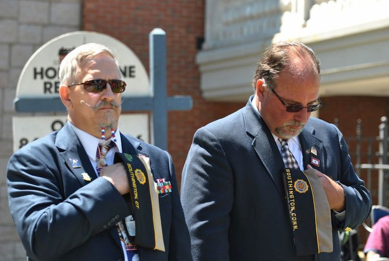 FILE PHOTO: Steve Pinterich (left) and John Demello, of the Southington American Legion Post 72, remember those lost during the Memorial Day ceremony. (Tyler Salomon/ Record-Journal)