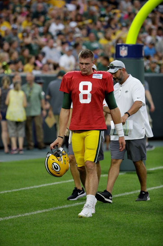 Green Bay Packers Tim Boyle (8) during NFL football Family Night practice Saturday, Aug. 4, 2018 in Green Bay, Wis. (AP Photo/Mike Roemer)
