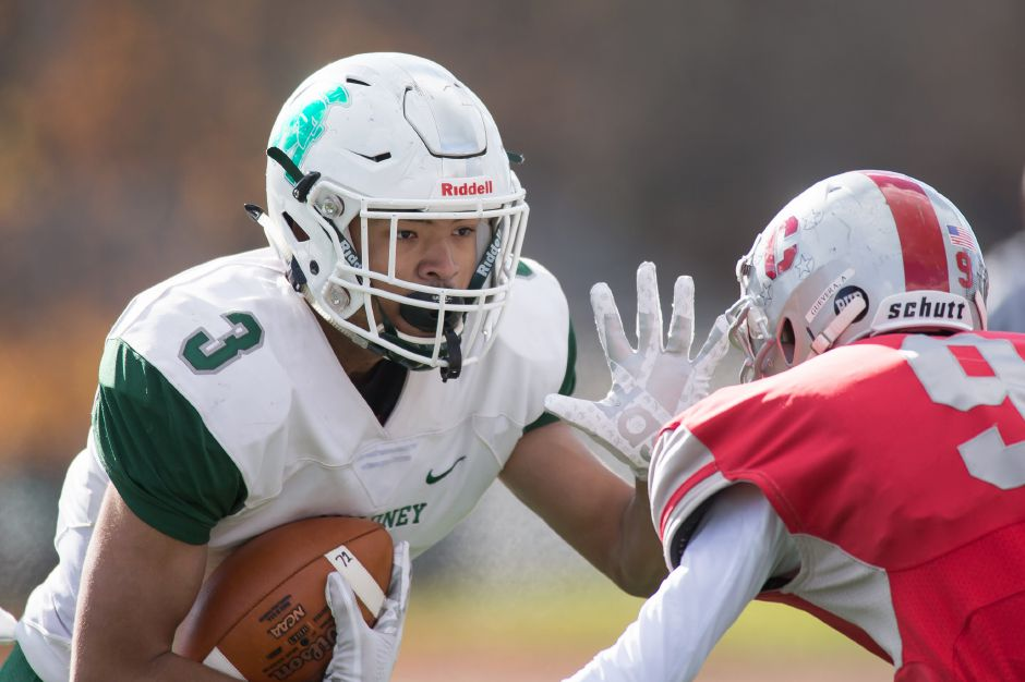 Victor Marquez became Maloney's leading career receiver this season, surpassing former teammate Alejandro Ortiz. Marquez has 175 receptions for 2,361 yards and 31 touchdowns going into his final game – Saturday's Class L championship game against Daniel Hand. | Justin Weekes / Special to the Record-Journal