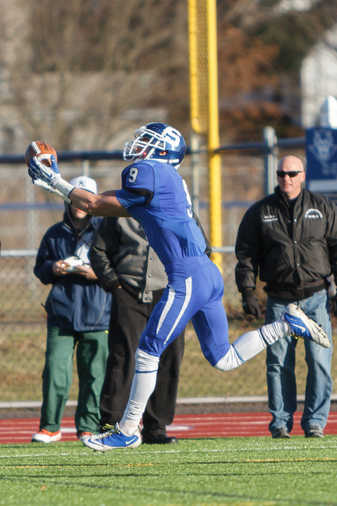 Southington's Alex Jamele catches a pass for a touchdown.  Jamele had two TD receptions on the day.| Justin Weekes / For the Record-Journal