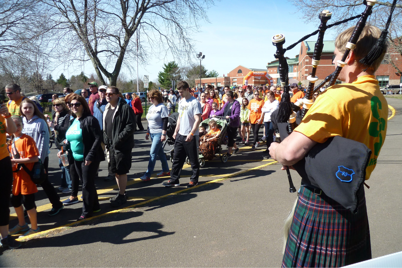 Shaun Roberts, 19, of Waterbury plays the bagpipes as part of Sully