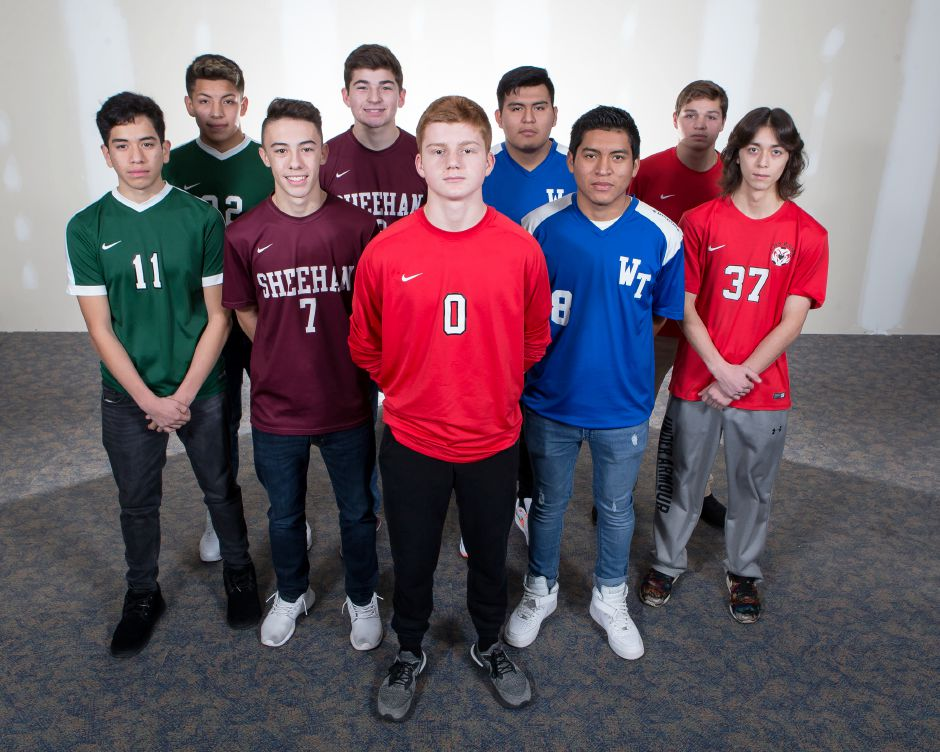 Please meet the 2018 All-Record-Journal Boys Soccer Team. In front is Maloney goaltender Devin Juan. In the second row, from left to right, are Maloney's Josue Urena, Sheehan's Matthew Marquis, Wilcox Tech's Kelvin Cortez and Cheshire's Toby Goldstein. In the back row, from left, are Maloney's Denis Blandon, Sheehan's Tyler Jasinski, Wilcox Tech's Alex Cortez and Cheshire's Matthew Mayano.