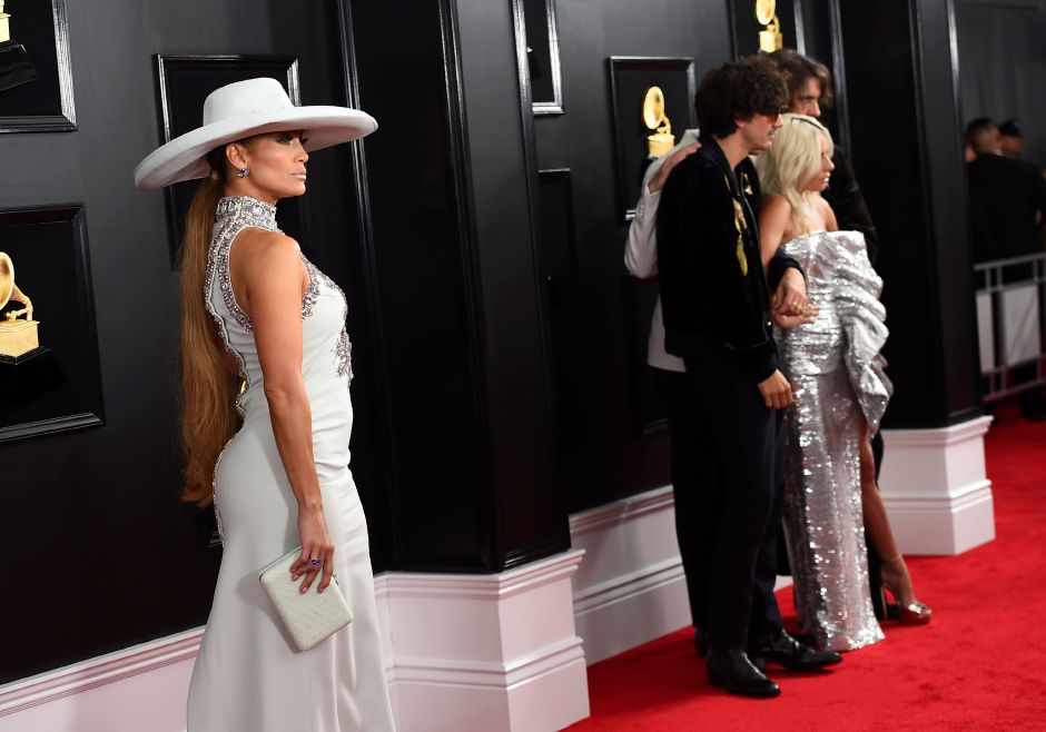 Jennifer Lopez, from left, Anthony Rossomando, Mark Ronson, Lady Gaga, and Andrew Wyatt arrive at the 61st annual Grammy Awards at the Staples Center on Sunday, Feb. 10, 2019, in Los Angeles. (Photo by Jordan Strauss/Invision/AP)