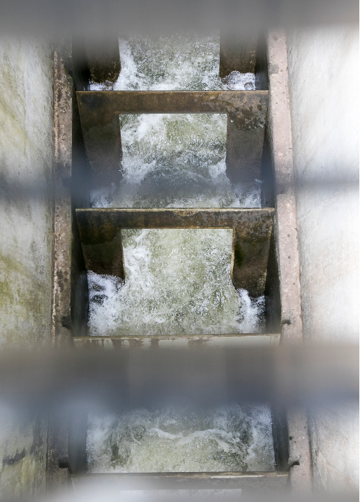 View looking down through grates shows a section of the fish ladder next to the Archimedes screw turbine at Hanover Pond in Meriden, Wednesday, May 24, 2017. The ladder allows fish to swim up and over the dam.  | Dave Zajac, Record-Journal
