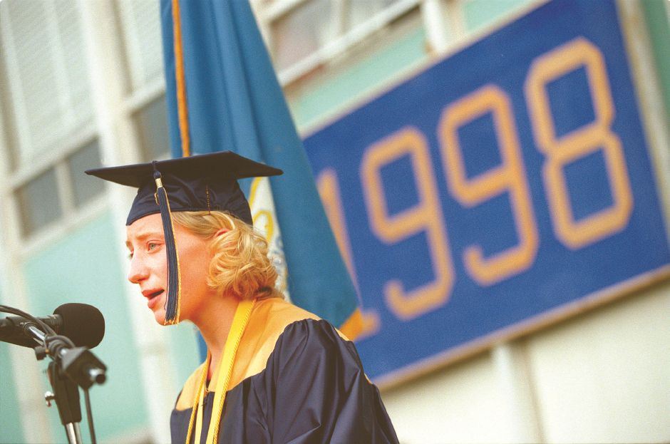 RJ file photo - Valedictorian Gretchen Tencza sums up the hopes and fears of the graduating class in her address to Platt June 17, 1998.