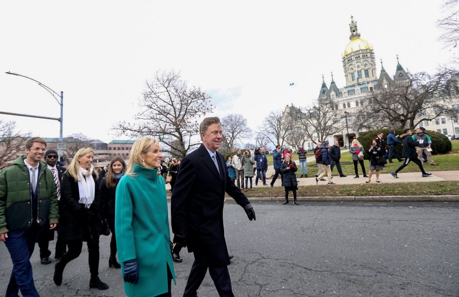 Gov. Ned Lamont walks by the capitol building in Hartford during a parade following his inauguration ceremony Jan. 9, 2019. | Dave Zajac, Recocrd-Journal