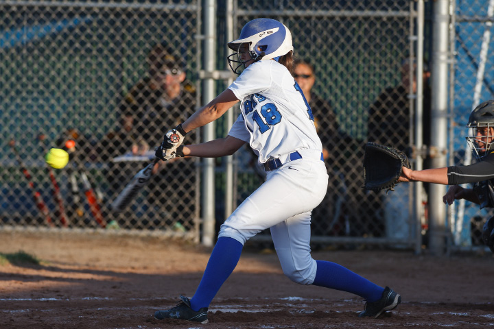 Southington's Lauren Zazzaro (18) connects for a hit in the second inning with Amity during the class LL final at DeLuca Field in West Haven June,14 2014 | Justin Weekes / For the Record-Journal