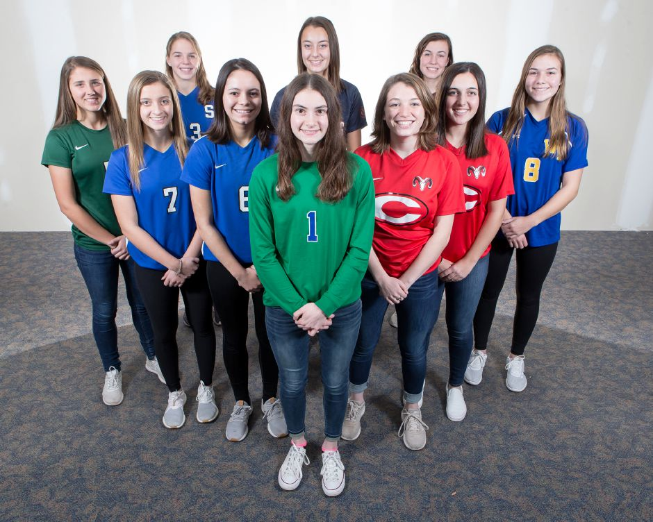 Introducing the 2018 All-Record-Journal Girls Soccer Team. Front and center is Southington goaltender Olivia Sherwood. She is flanked on the left by Southington teammates Emma Panarella and Alijah Vega and, on the right, by Cheshire teammates Lila McNamee and Kaitlin Loura. In back, left to right, are Maloney's Alexa Papallo, Southington's Natalie Verderame, Lyman Hall's Carly Jacobs, Sheehan's Olivia Dubuc and Wilcox Tech's Katie Kearney. Not pictured is Platt's Liz Garlock. | Justin Weekes / Special to the Record-Journal