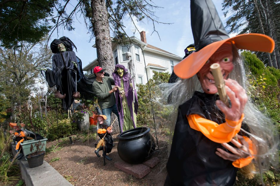 Vince Proto prepares for Halloween by decorating his home on North Main Wednesday in Wallingford Oct. 21, 2015 | Justin Weekes / For the Record-Journal