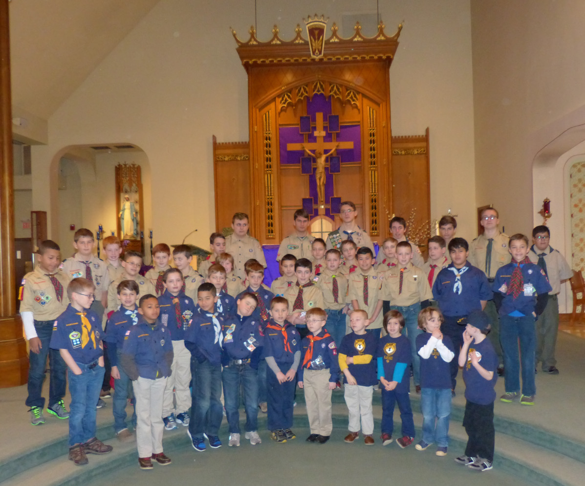 Approximately 75 Cub Scouts, Boy Scouts and leaders attended Mass at St. Paul Church on Scout Sunday, March 5. Scouts were members of Cub Scout Pack 41 of Griswold Elementary School and St. Paul School; Cub Scout Pack 5 of Willard Elementary School; and Boy Scout Troops 24, 41 and 44.