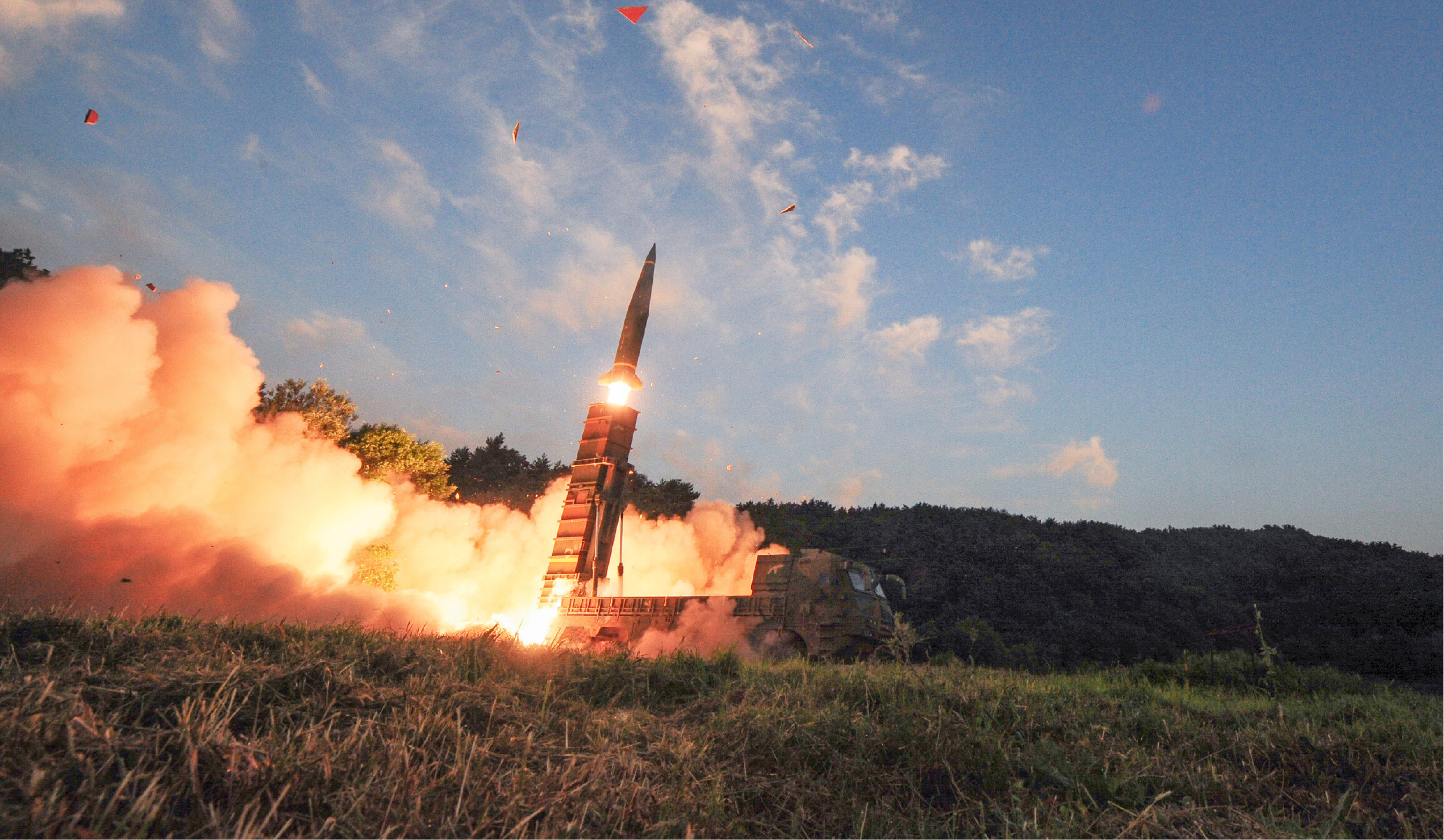 South Korea's Hyunmoo II ballistic missile is fired during an exercise at an undisclosed location in South Korea on Monday. | South Korea Defense Ministry via Associated Press