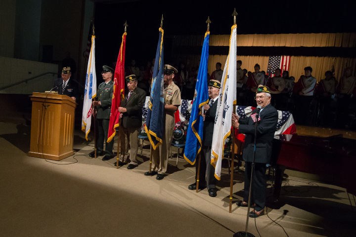 The recognition of the branches of Military Service flags Friday during the Wallingford Veterans