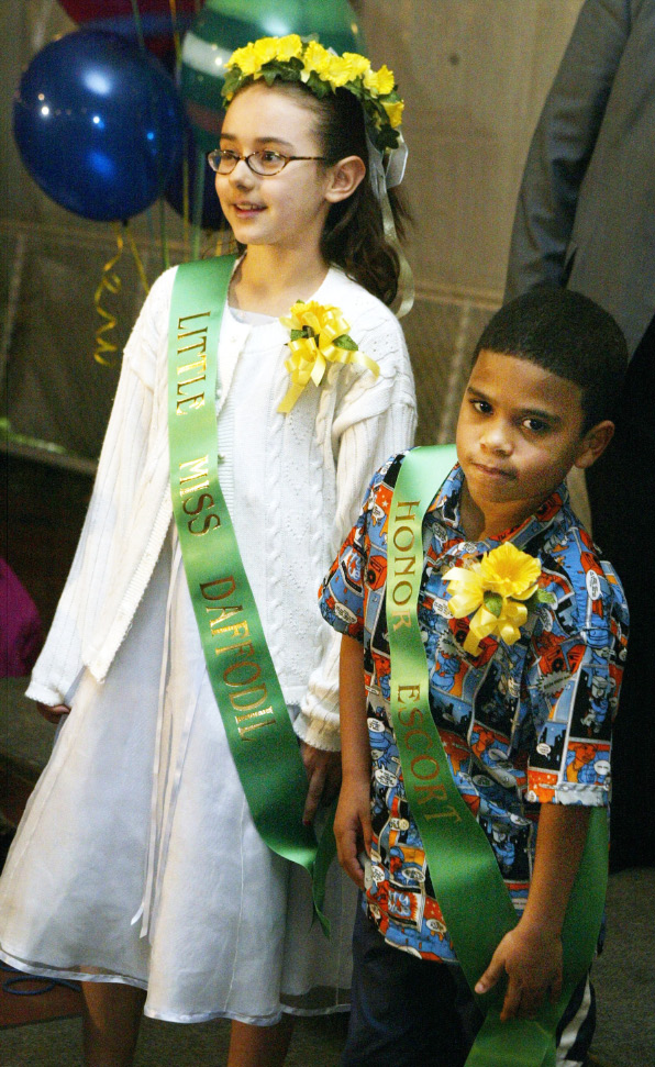 Alexis Crespo, left, of Mt. Carmel School, with Keynaun Faison, of John Barry School, chosen as Little Miss Daffodil and her Honor Escort Wed. night, April 21.