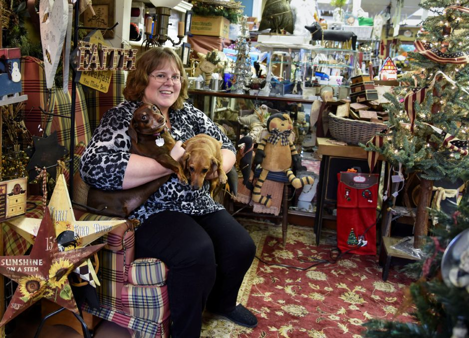 Vintage from the Heart shop owner Amy Kline poses with her dogs Pennsy and Paige in her shop in Southington on Nov. 1. | Bailey Wright, Record-Journal